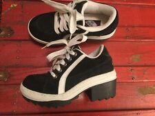 No Parking 6 Sneaker Chunky Platform High Heel Black Suede 90s Babydoll Grunge
