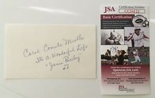 Carol Coombs Signed Autographed 3x5 Card JSA Certified