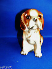 VINTAGE Beagle Puppy Ceramic Figure 1960s by Norleans of Japan .