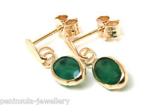 9ct Gold Emerald Drop earrings Gift Boxed Made in UK