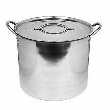 15 Litre Deep Mirror Polished Stainless Steel Casserole Dish Pot Stockpot & Lid