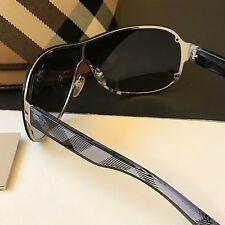 Burberry Silver Classic Check Translucent Unisex Wrap Shield Sunglasses BE3067