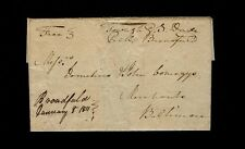 """Broadfield January 8 1811 Free Townsend S. Dade, P.M."" 2pg ltr Westmoreland Co."