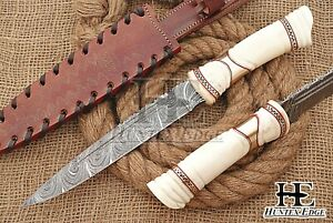 HUNTEX Custom Handmade Damascus Steel 330mm Long CamelBone Hunting Sticker Knife