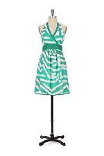 Anthropologie Green Cotton Halter Cocktail Dress Sundress By We Love Vera Size 8