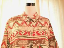 ALFRED DUNNER Short Sleeve Career 100% Rayon Mult Color Blouse Womens Sz 18 $46