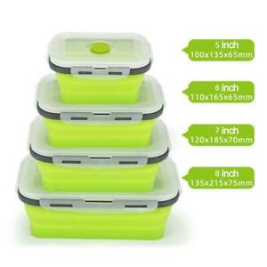 Silicone Food Storage Container Collapsible Containers Box Lunch Lids with T1J6
