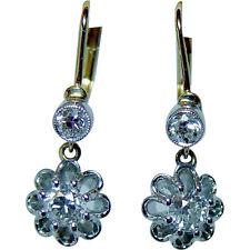 Art Deco Old Miner Mine cut Diamond Earrings 18K Gold French Backs Estate