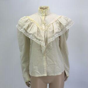 Vintage 70's Gunne Sax Blouse Shirt 9 Cream Lace Victorian Gunnies High Neck M18