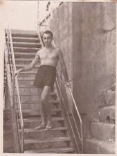 1950s Nude muscle man in shorts on stairs gay interest Russian Soviet photo