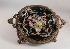 Vintage Asian Hua Rong Tang Zhi Chinese Porcelain Dish w/ Gilt-Bronze Brass Trim