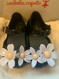 Mini Melissa Black White Daisy Girls/Baby Shoes Size 3 (19-20) Ex Display