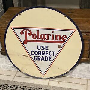 "Original Vintage 30"" Double-Sided Polarine Porcelain Gas Oil Advertising Sign"