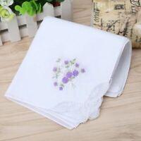 6 Pc/Set Women Vintage Cotton Ladies Embroidered Lace Handkerchief Floral Hanky
