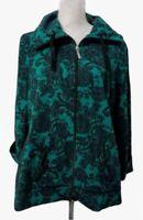 Kim Rogers Green Black Paisley Print Zip Up Lightweight Casual Jacket Size XL