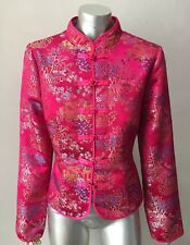 Cheongsam Oriental Vintage Embellished Pink Mandarin Toggle Button Jacket Coat M