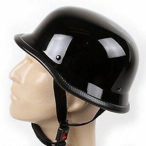 German Novelty Shiny Black Motorcycle Half Helmet Cruiser Biker S,M,L,XL,XXL