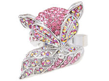 Light Pink Rose Crystal Rhinestone Silver Tone Foxy Fox Custom Ring Adjustable