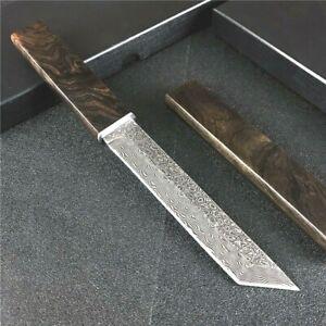 Mini Katana Japanese Tanto Knife Hunting Survival Tactical Damascus Steel Wood S