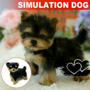 Realistic Yorkie Dog Toy Push Doll Lifelike Companion Simulation Puppy Toy Pet