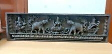 Vintage Wall Panel Hindu Devi Lekshmi Ganesh Saraswati Wooden Sculpture Elephant