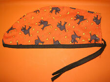 Surgical Scrub Hats/Cap Halloween Scared black cats with yellow moons and stars