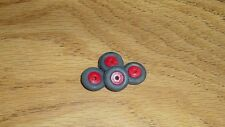 """BARCLAY /MANOIL 4 / 1/2 """" BLACK TIRES  WITH 5/16 """" RED WOOD HUB"""
