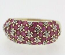 9ct Yellow Gold Ruby & Diamond Ring Size P
