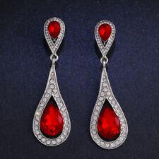 Rhinestone Silver Gold Plated Austria Red Crystal Retro Hook Drop Earrings