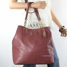 NWT Coach Madison Leather North South Tote Shoulder Hand Bag 26225 Rouge Red NEW