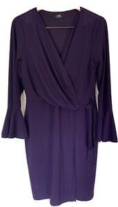 Wallis Women Purple Mock Wrap Long Sleeve Ruched Waist Midi shift dress size 14