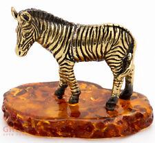 Solid Brass Amber Figurine of the Zebra IronWork