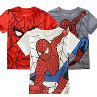 Kids Boys Superhero Spiderman Short Sleeve T-Shirts Tops Summer Clothes Age 2-7