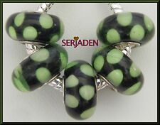5 Black Green Dots Single Core Beads Fit European Jewelry 8 * 14 & 5mm Hole B111