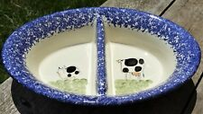 Molly Dallas Blue Spatterware Ceramic Oval Chip n Dip Serving Bowl Cow & Pig
