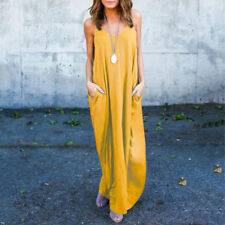 Women Long Maxi Dress Evening Party Summer Beach Sleeveless Sundress Oversize