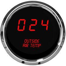 Digital OUTSIDE AIR TEMPERATURE GAUGE W/ Sender RED LEDs CHROME BEZEL Warranty !