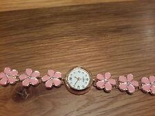Orologio D'oro Nuovo di zecca con cinturino in smalto con fiori rosa e scatola regalo