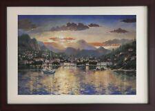 """""""Harbour at Evening"""" by Andrew Warden (Framed Landscape Art Kinkade)"""