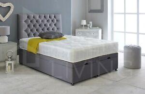 Ottoman Bed Divan Storage Plush Velvet+Chesterfield Bed Head - FOOTLIFT-GAS LIFT