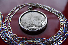 """Roaring African Lion Classic Pendant on a 30"""" 925 ITALIAN Silver Chain,"""