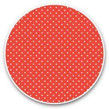 2 x Vinyl Stickers 20cm  - Red & White Polka Dot Dots Print  #46235