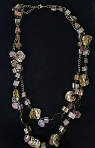 Bronze Tone Brown Mother Of Pearl Shell Double Strand Necklace 22 Inches
