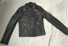 Muubaa Ladies Gulrro Hard Grey Leather Biker Jacket BNWT UK 6 RRP £450