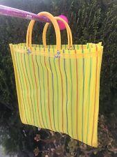 Yellow Shopping Market Mexican Bag. Mesh Medium Reusable Beach Tote.