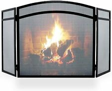 Vintage Decor ® Victorian Classic Arched Black  3 panel Fire Screen Spark Guard