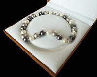 14mm Weiß grau schwarz gemischte Farb Muschelkernperlen Halskette, ungefähr 45cm