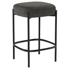"17.3"" W Set of 2 Counter Stool Modern Black Metal Frame Grey Fabric Seat Cushion"