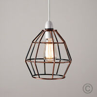 Modern Copper Metal Wire Frame Ceiling Pendant Light Lamp Shade Lampshade Lights