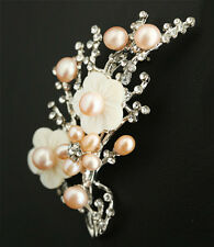 Flower Women Girl Party Pin Brooch Real Pink Pearl 18Kwgp Inlay Crystal Shell